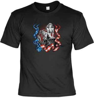 T-Shirt: Pin Up Girl on Bike - USA