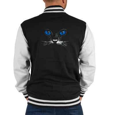 College Jacke Herren: Blue eyes black cat