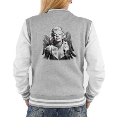 College Jacke Damen: Marilyn Monroe mit Flügel