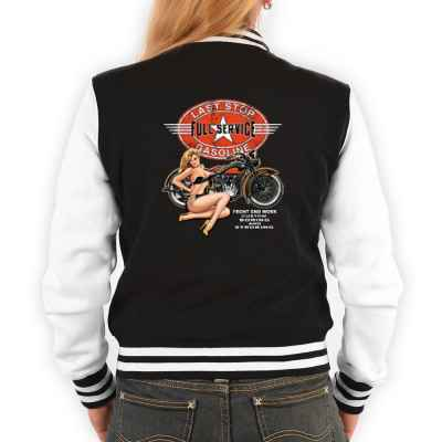 College Jacke Damen: Pin Up Girl - Last Stop Full Service Gasoline