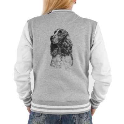College Jacke Damen: Springer Spaniel (schwarz-weiß Zeichnung)