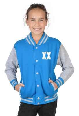 College Jacke Mädchen Kinder: Wunschjahr zweistellig Farbe: türkis