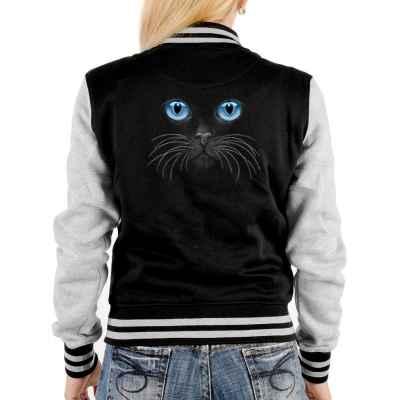 College Jacke Damen: Katzenaugen blau