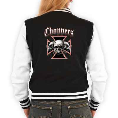 College Jacke Damen: Choppers - Cross with Skulls