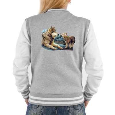 College Jacke Damen: 2 Wölfe