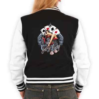 College Jacke Damen: Hot Girl on Bike - Get N Lucky