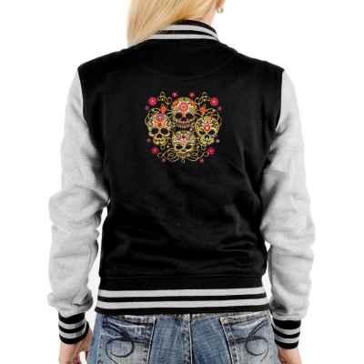 College Jacke Damen: vier Totenköpfe mit Blumenmuster