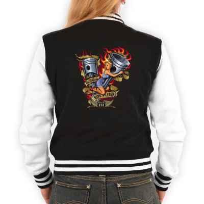 College Jacke Damen: Pin Up Girl - Ride a Legend