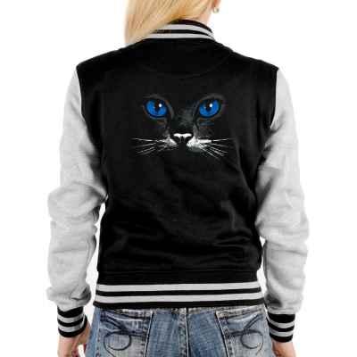 College Jacke Damen: Blue eyes black cat