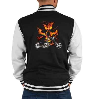 College Jacke Herren: Bike Flameskull