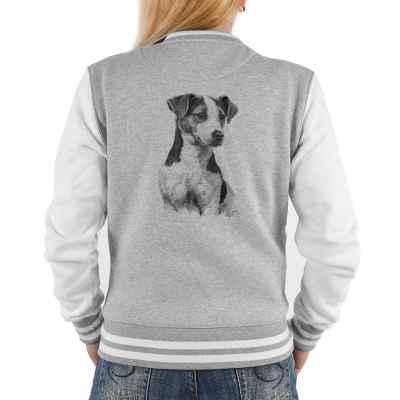 College Jacke Damen: Parson Russel Terrier (schwarz-weiß Zeichnung)