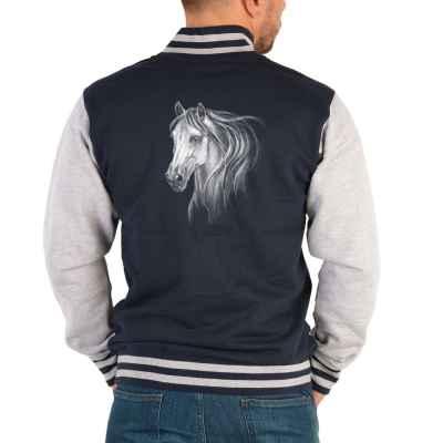 College Jacke Herren: weißes Pferd - Schimmel