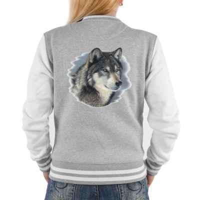 College Jacke Damen: Portrait Wolfskopf