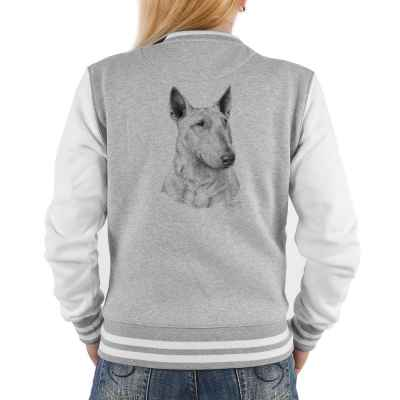 College Jacke Damen: Bullterrier (schwarz-weiß Zeichnung)