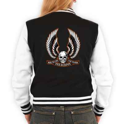 College Jacke Damen: Old School - Ride to Live & Live to Ride