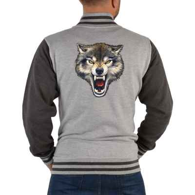 College Jacke Herren: Zähne fletschender Wolf