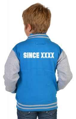 College Jacke Jungen Kinder: Wunschjahrgang Farbe: türkis