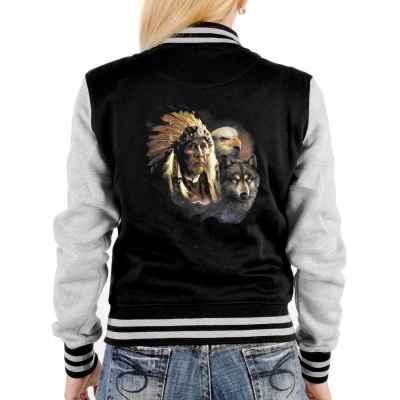 College Jacke Damen: Indianer mit Adler und Wolf