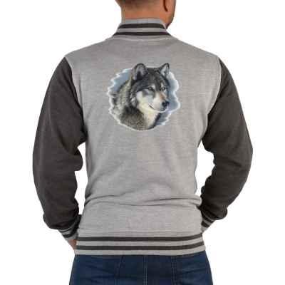 College Jacke Herren: Portrait Wolfskopf