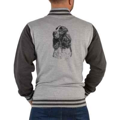 College Jacke Herren: Springer Spaniel (schwarz-weiß Zeichnung)