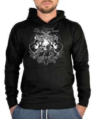 Kapuzensweater: Rock n Roll - Totenkopf miti Gitarren