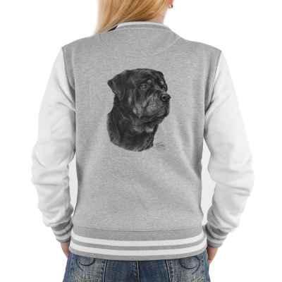 College Jacke Damen: Rottweiler (schwarz-weiß Zeichnung)