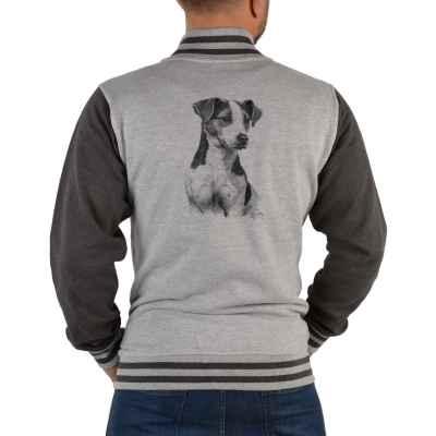 College Jacke Herren: Parson Russel Terrier (schwarz-weiß Zeichnung)