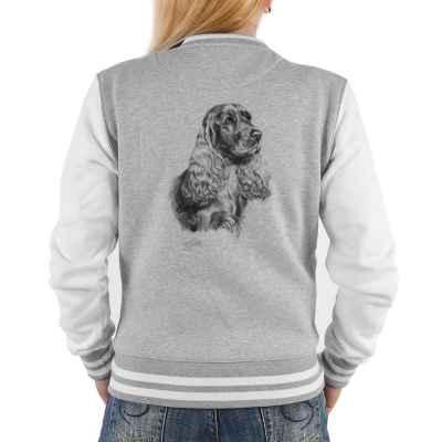 College Jacke Damen: Cocker Spaniel (schwarz-weiß Zeichnung)
