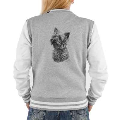College Jacke Damen: Yorkshire Terrier (schwarz-weiß Zeichnung)
