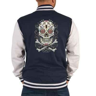 College Jacke Herren: floral Skull